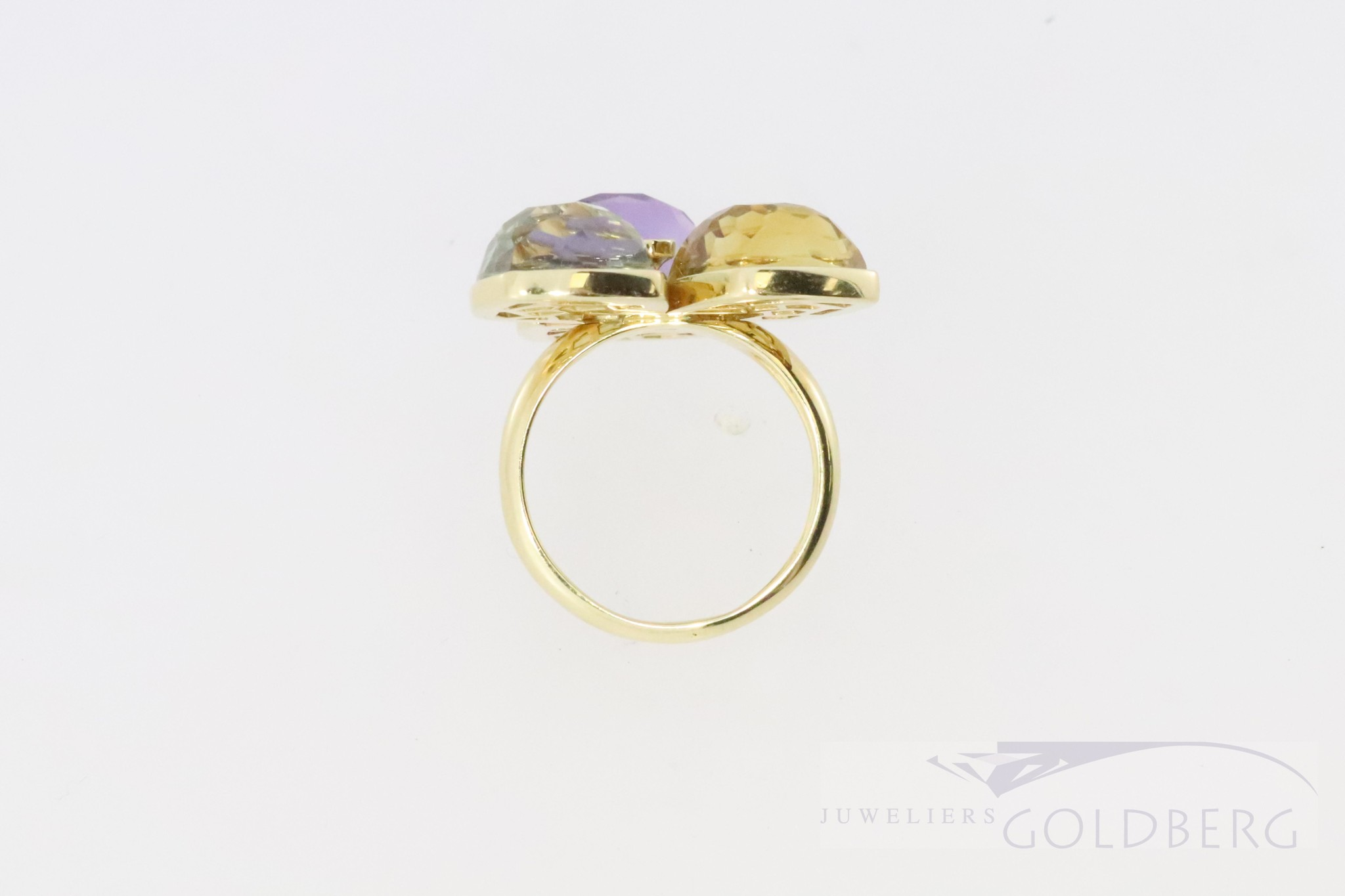 Unique ring 14k gold with big gemstones and diamond