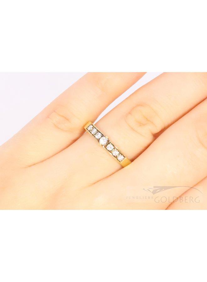 mooie 14k geelgouden allicance ring met diamant.