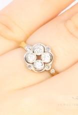 14k antiek bi-colour ring met 10 diamanten