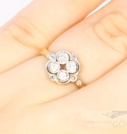 14k antique bi-colour ring with diamonds