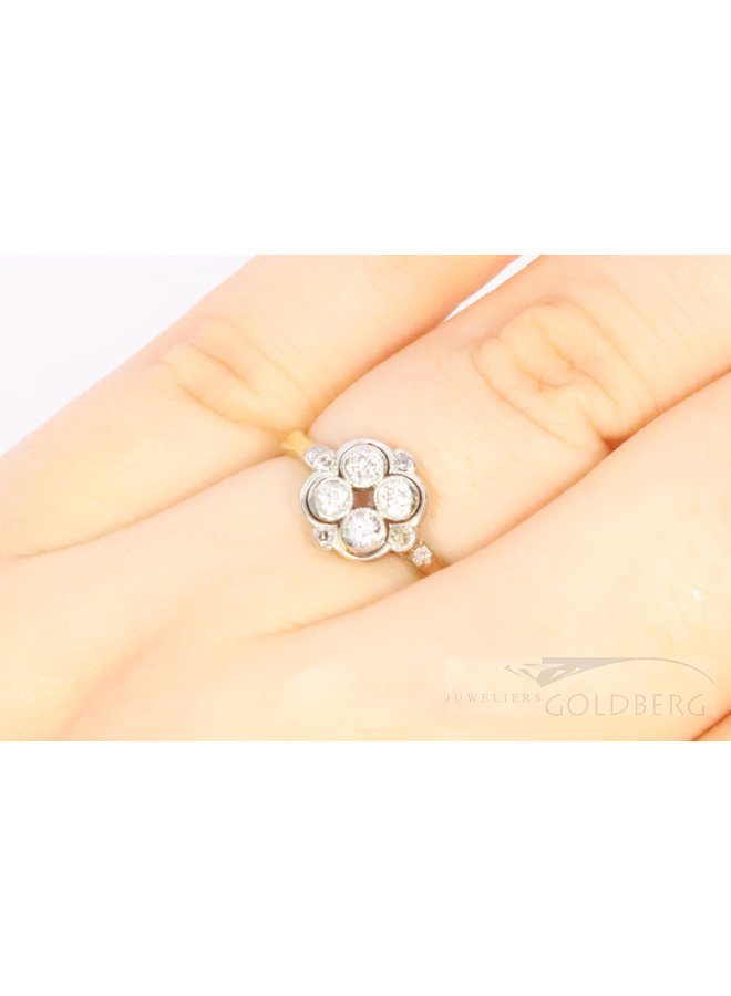 14k antiek bi-colour ring met diamanten