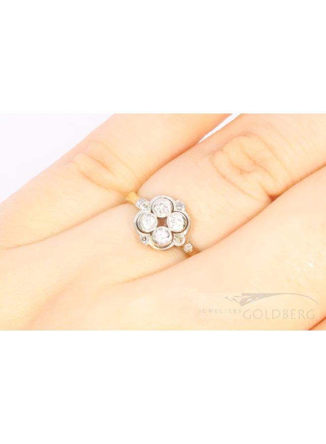 14k antique bi-colour ring with diamonds