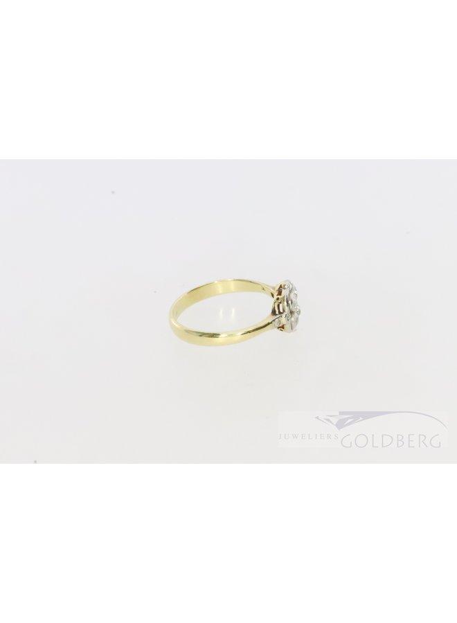 14k antique bi-colour ring with 10 diamonds