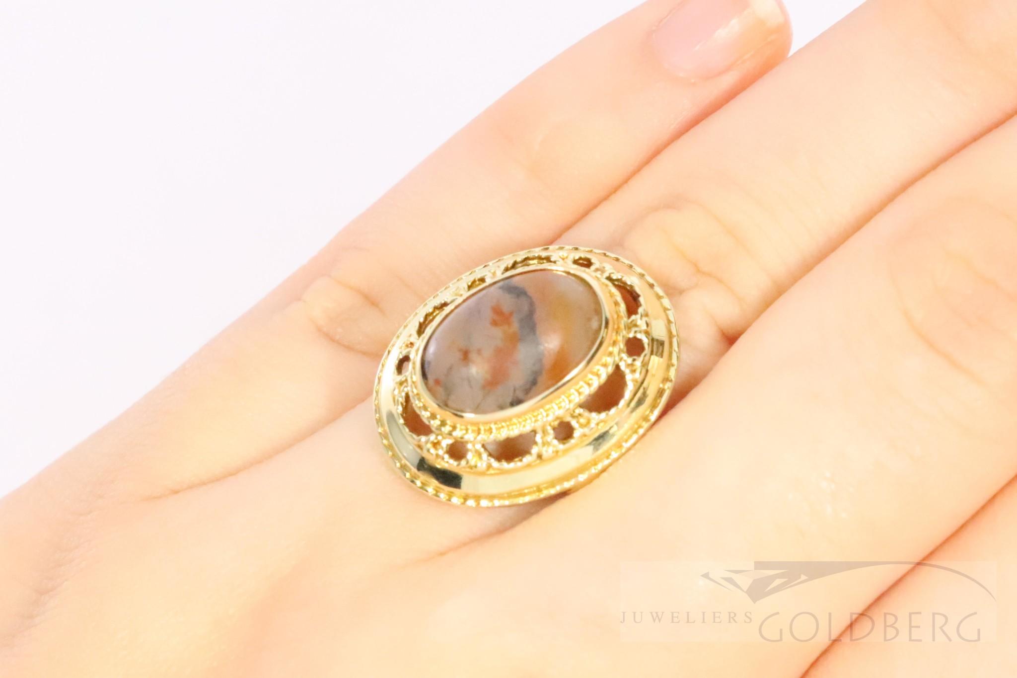 14k gouden ring met mooie mosagaat
