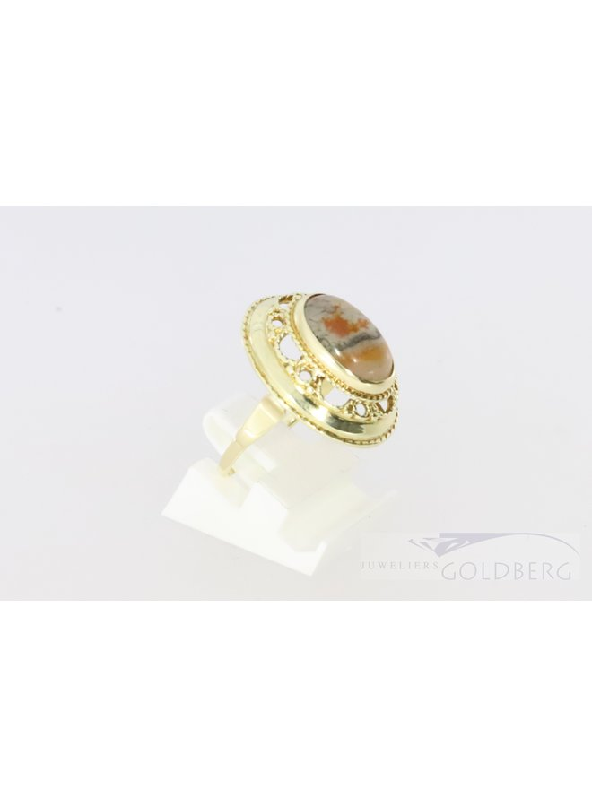 14k gold ring with pretty moss agate