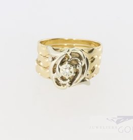 Big 14k bi-color gold ring with a diamond