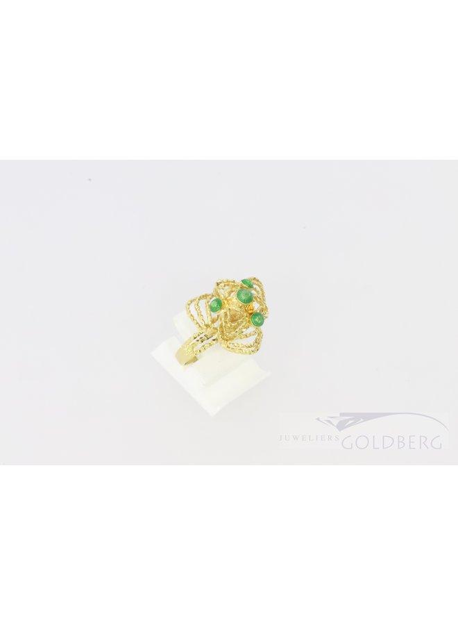 18k filigree ring with green enamel balls.