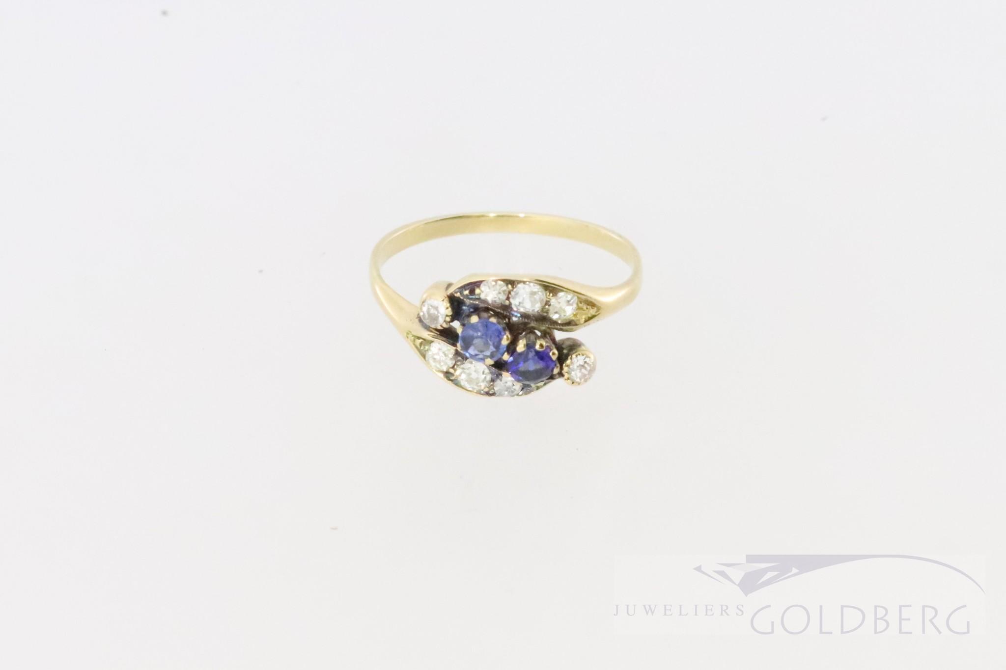 14k bolshevik ring with diamond and sapphire