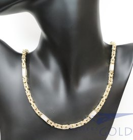 Large 14k gold hollow byzantine necklace with zirconia's