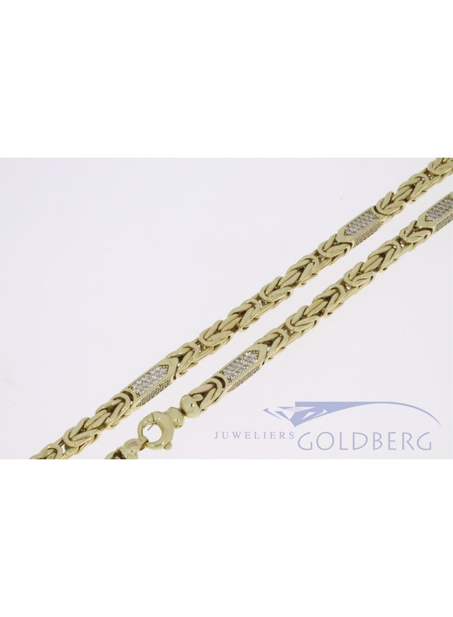 Large 14k gold hollow byzantine necklace with zirconia's 5,2mm and 65cm
