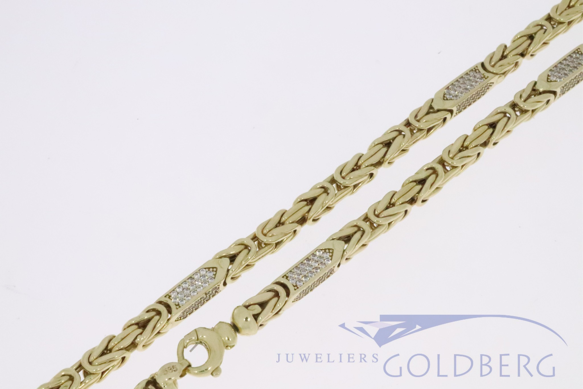 Stevige 14k gouden holle koningsketting met zirconia's  5,2mm en 65cm