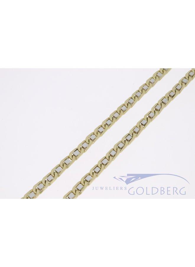 14k gouden bicolor fantasie collier 6mm breed en 70cm lang