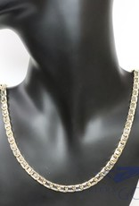 14k gold bi-color fantasy necklace 6mm wide and 70cm long