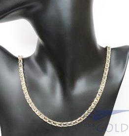 14k gold bi-color fantasy necklace 6mm 70cm