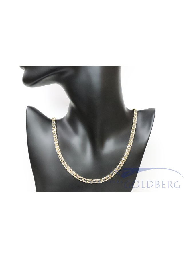 14k gouden bicolor fantasie collier 6mm 70cm
