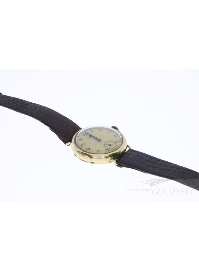 antieke 18k horloge met leren bandje.