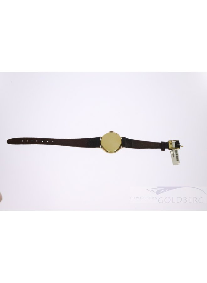 Antique 18k golden watch with lether strap.
