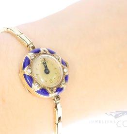 antieke 14k horloge met diamant en emaille