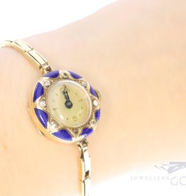 antique 14k watch with diamond and enamel