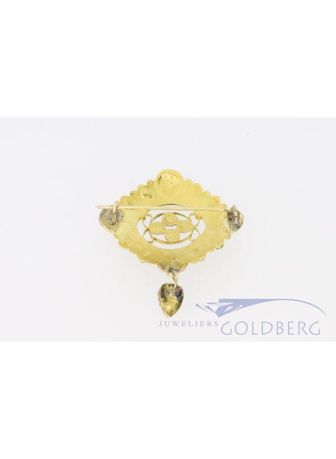 antieke 18k gouden hanger met garnaat