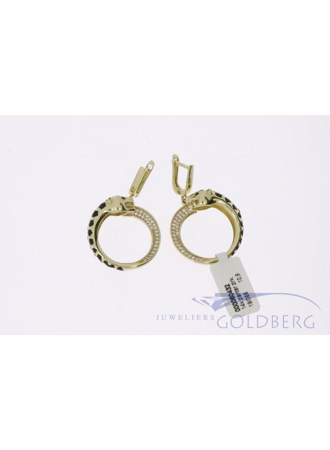 prachtige 14k goud panter oorbellen met zirkonia