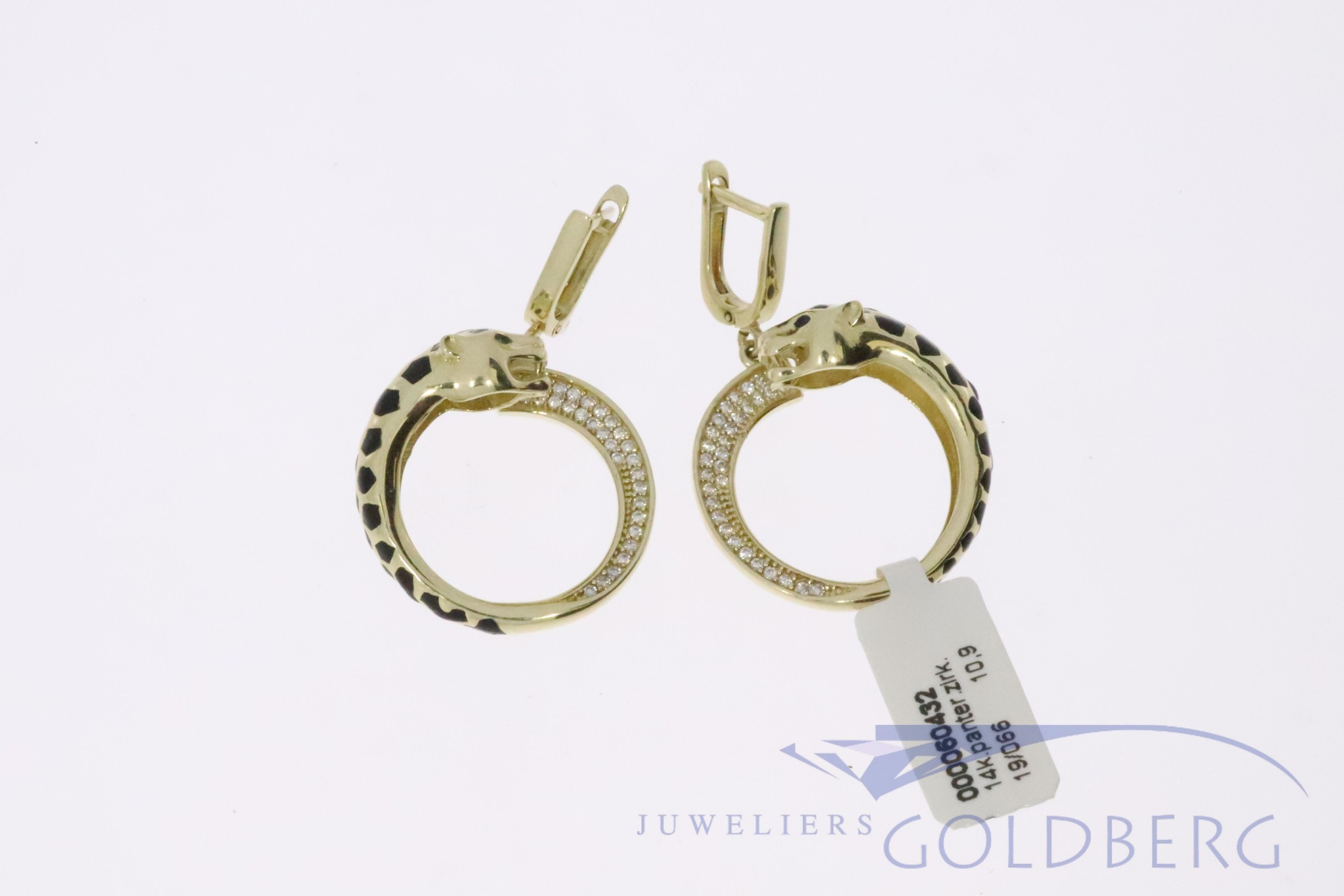 beautiful 14 carat gold panther earrings with zirconia