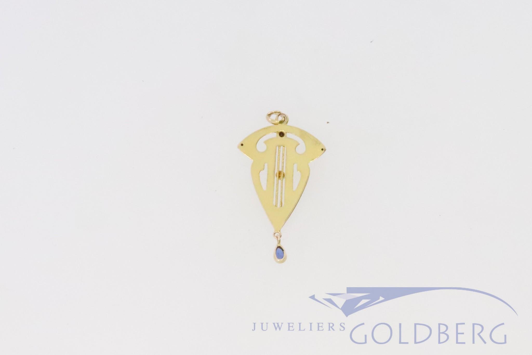 14k antique art nouveau style pendant with sapphire