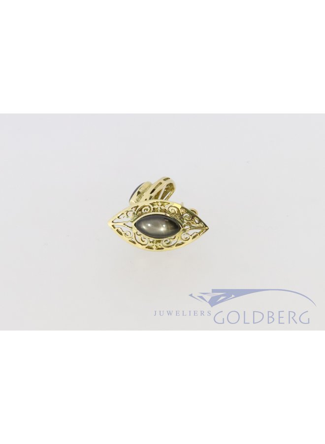18k gouden oorbellen met stersaffier