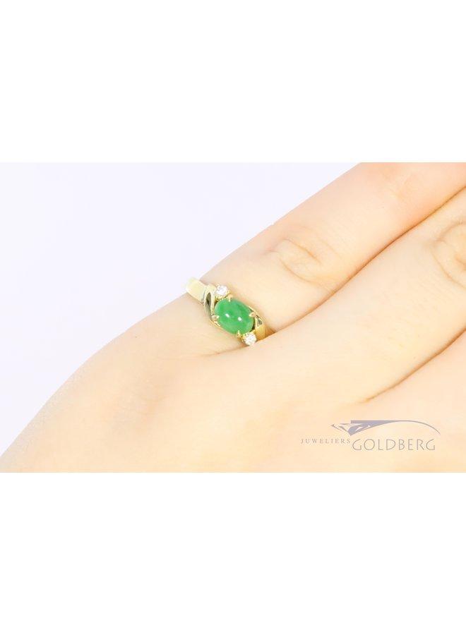 18k ring met chrysopraas en diamant