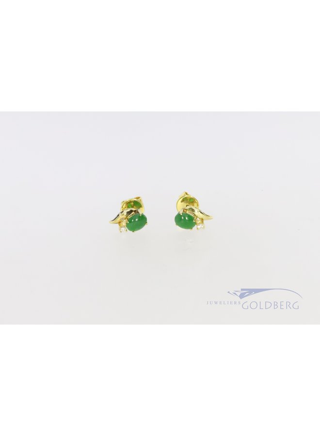 earrings with chrysoprase and diamond