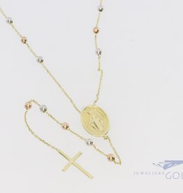 14k rosary with cross and madonna