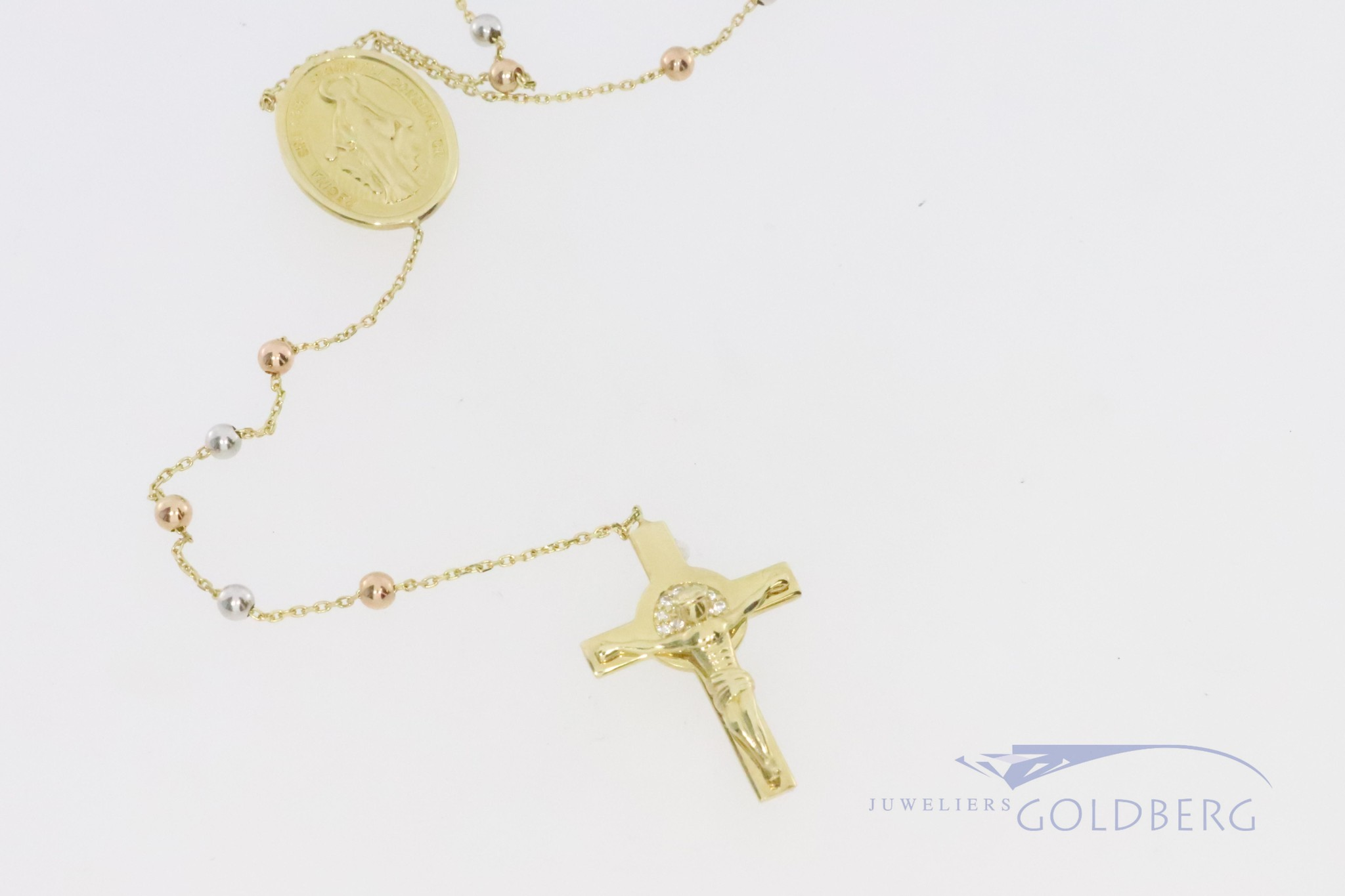 14k rosary with madonna and jesus