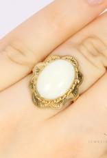 14k gold flowered opal ring
