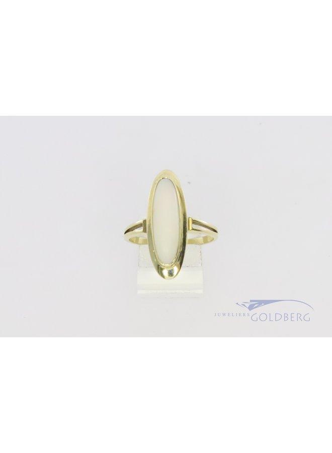 14k ring met markies opaal