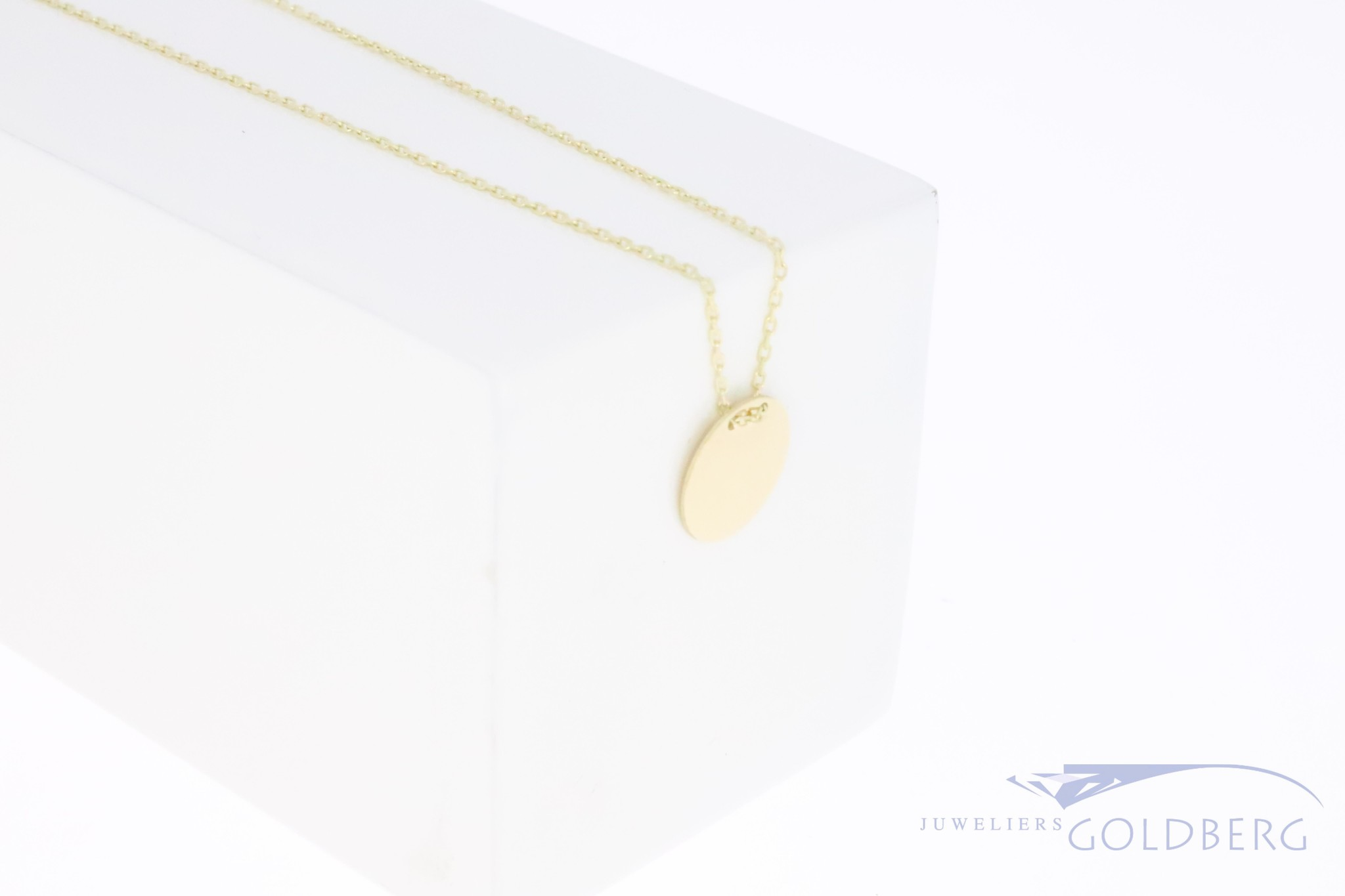 14k gold engravable medal pendant 10mm with necklace