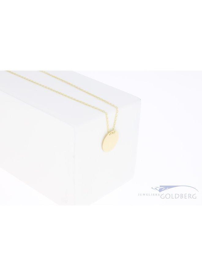 Gouden graveermunt hanger 10mm 14k met ketting
