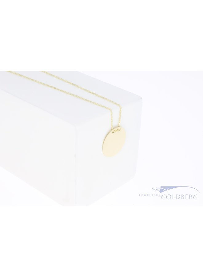 14k gold engravable medal pendant 13,5mm with necklace
