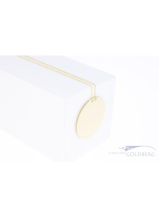 Gouden graveermunt hanger 24mm 14k met ketting