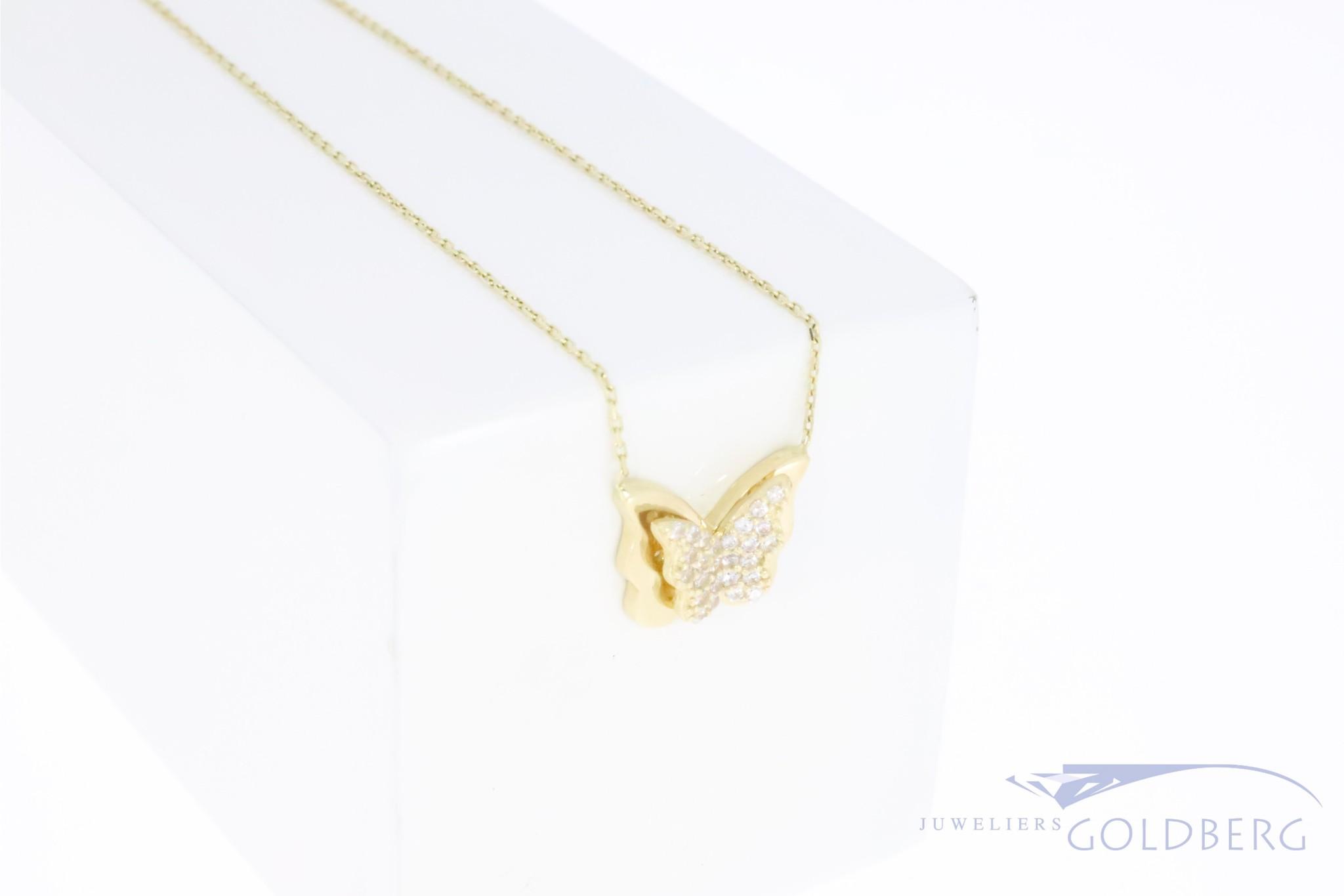 14k gouden vlindertje met zirconia aan ketting