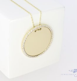 Golden engraving coin pendant 23mm with zirconia 14k with chain