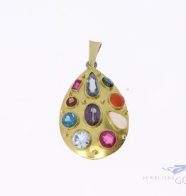 14k cocktail pendant with 10 gemstones