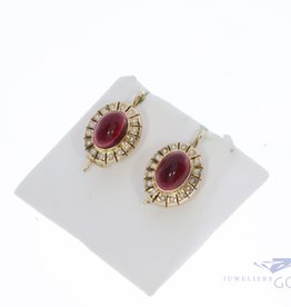 Antique 14k garnet pearl earrings