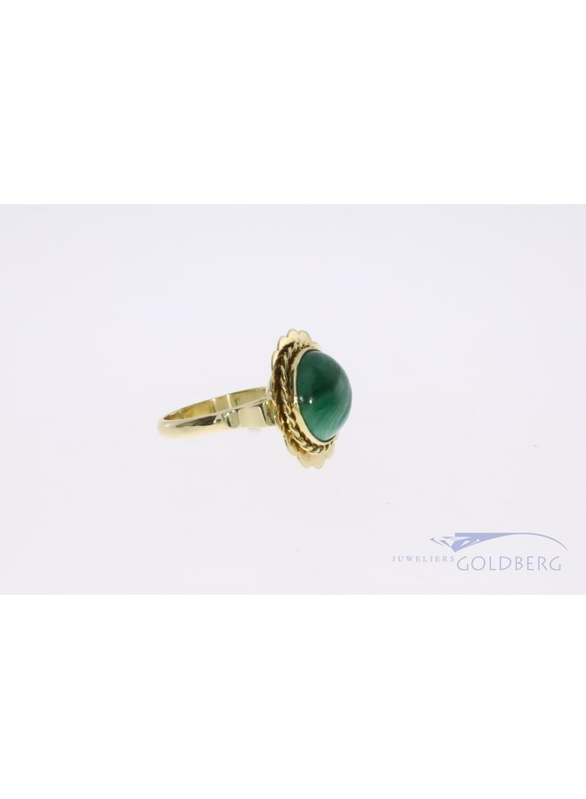 Vintage 14k gouden malachiet ring