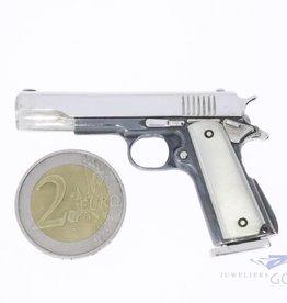 Zilveren miniatuur pistool handwerk (UNIEK)