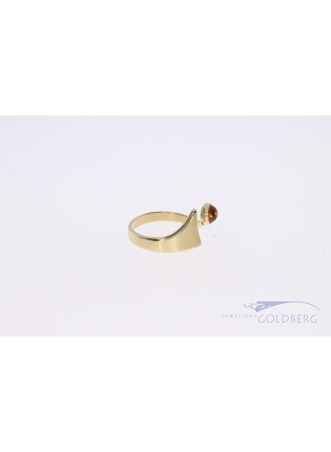14k gold ring with amber