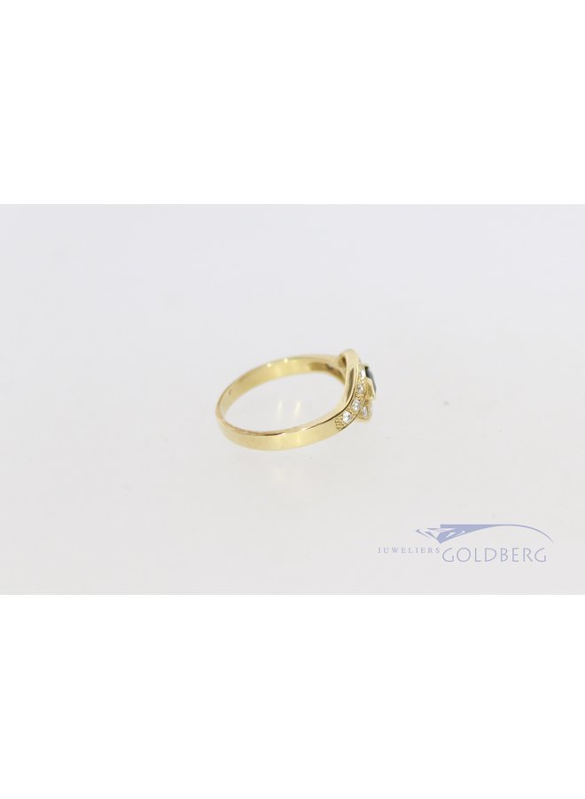 vintage 14k ring met diamant 0.21 en saffier.