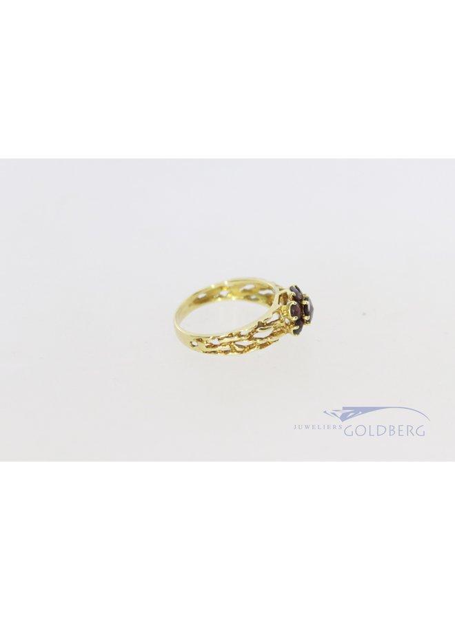 14k modern gold ring with garnet