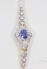 Art Deco armband met diamant en  saffier