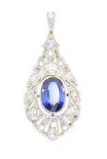 Art deco hanger met diamant en saffier