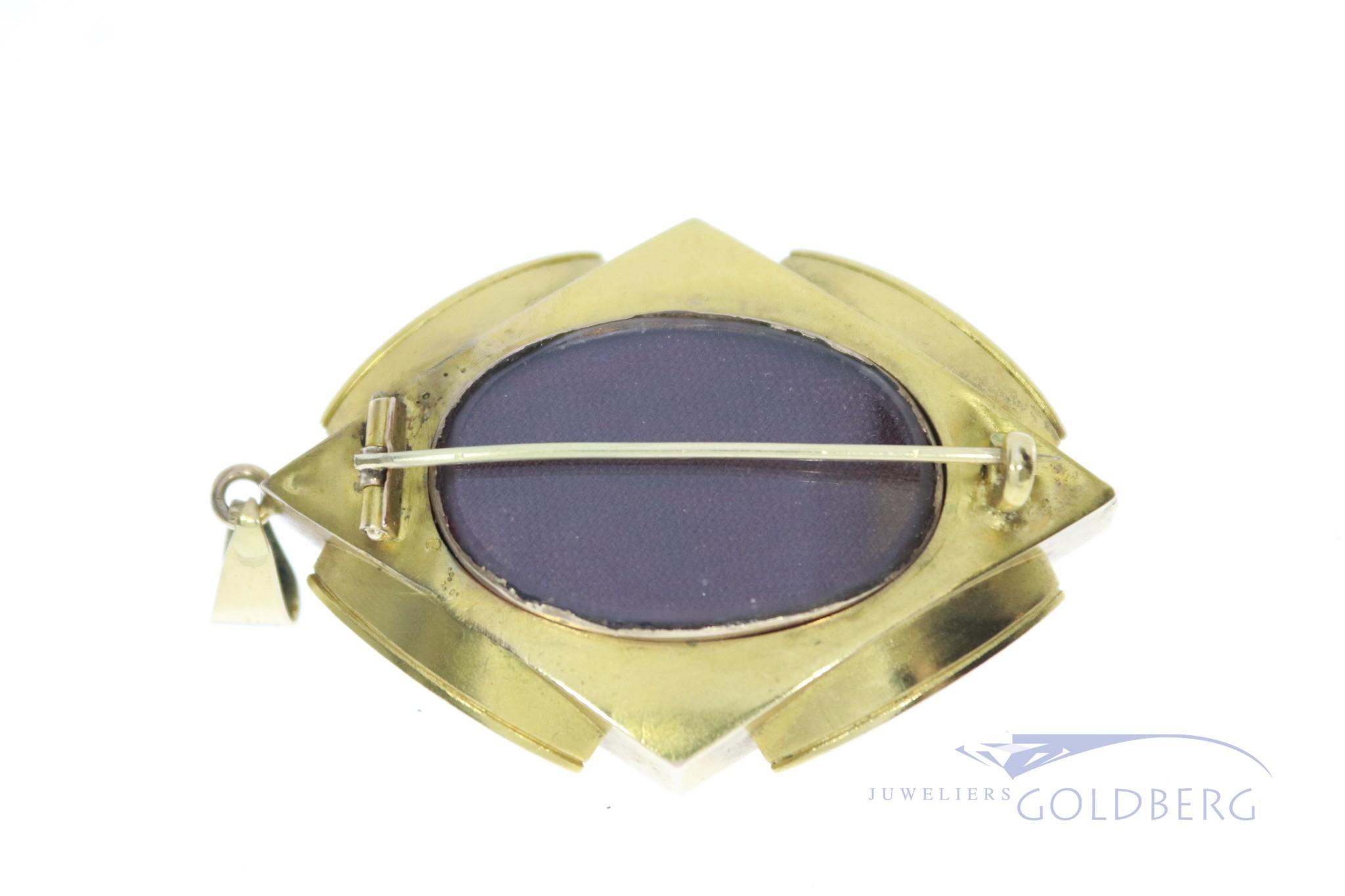 14k antieke hanger/broche met diamant